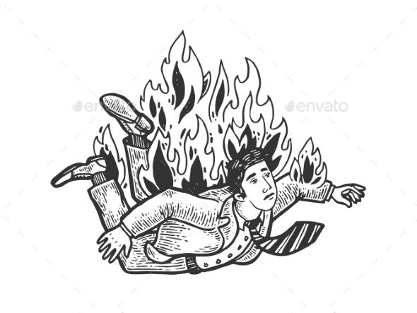 Falling Burning Man Engraving Vector Illustration - People Characters