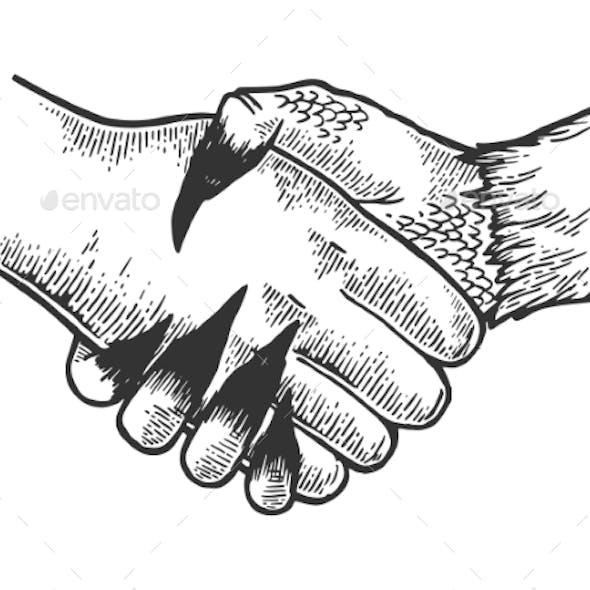 Devil Handshake Engraving Vector
