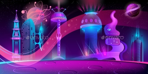 Vector Night Background with Alien Futuristic City - Backgrounds Decorative
