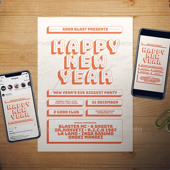 Retro New Year Flyer Set