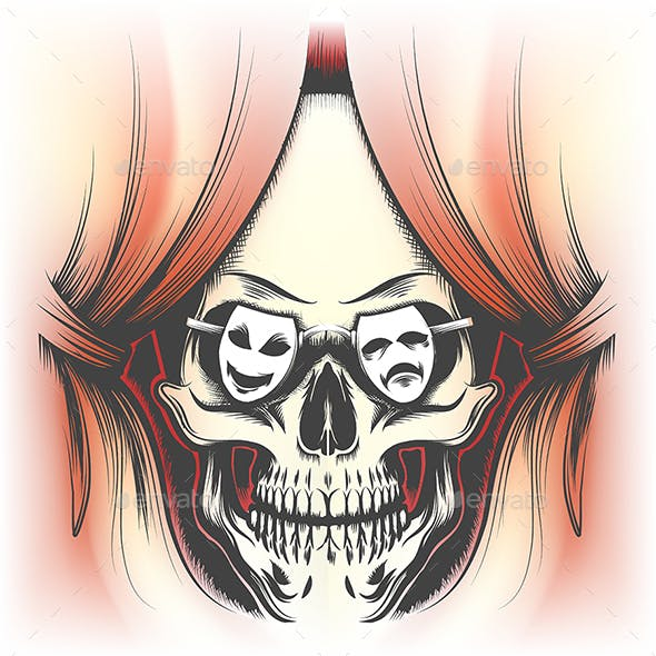 Human Skull and Stage Curtain