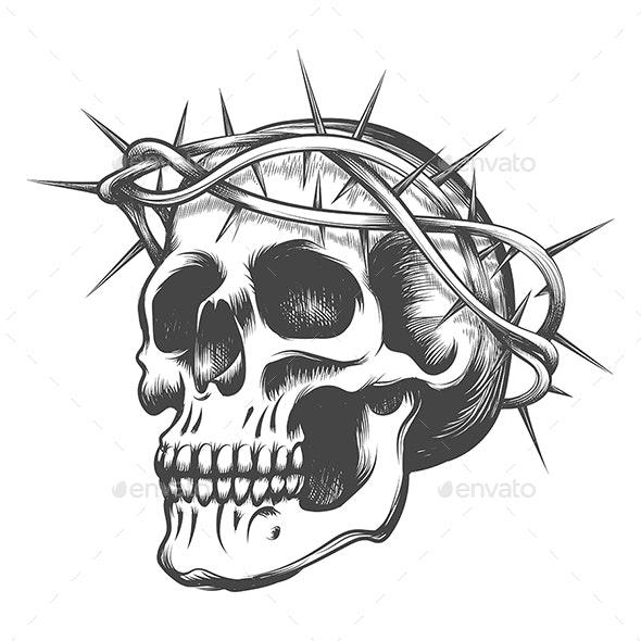 Skull in Thorns Wreath - Tattoos Vectors