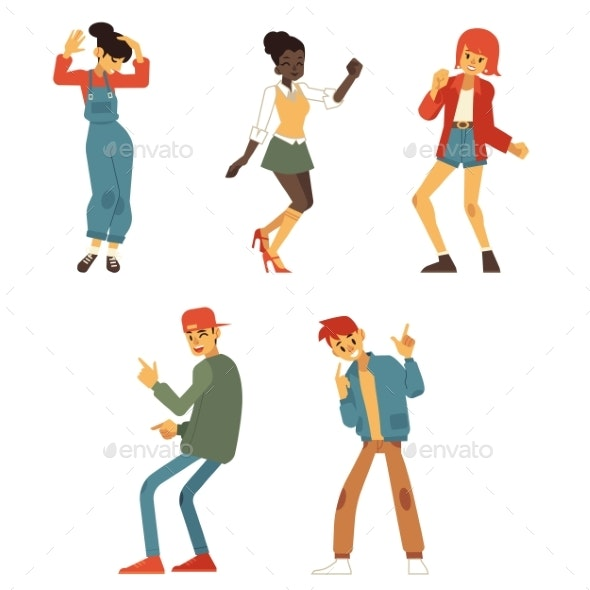 Vector Teen People Dancing at Party Flat Set - People Characters
