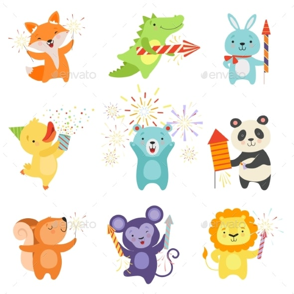 Animals with Party Poppers Set - Animals Characters