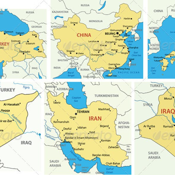 Maps of Asian Countries. P.1.