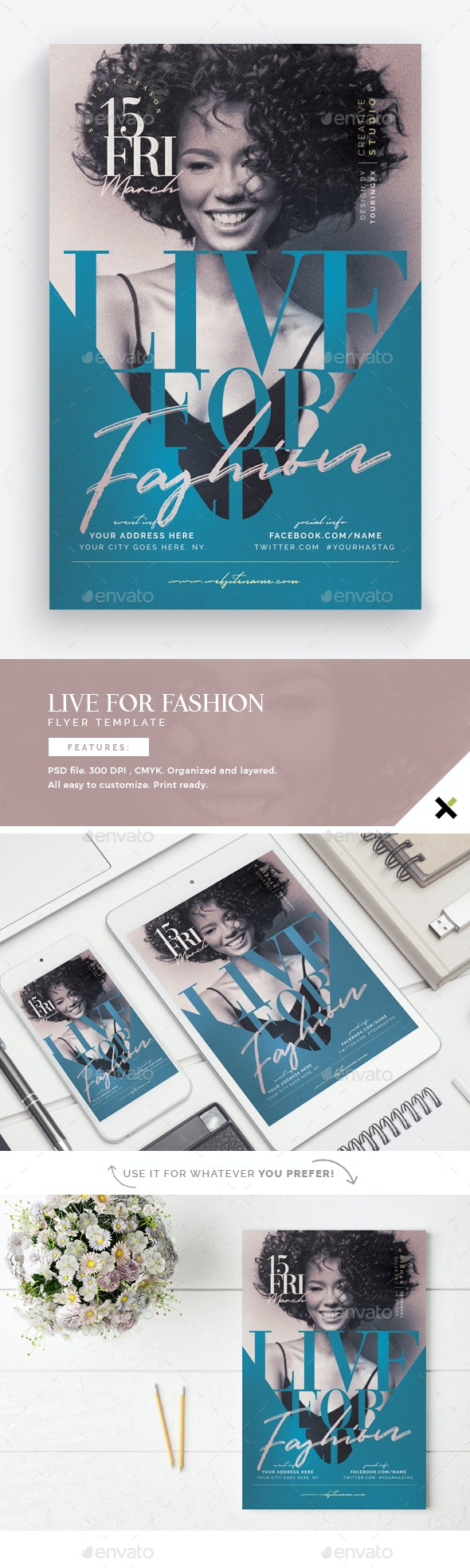 Live For Fashion Flyer Template - Flyers Print Templates