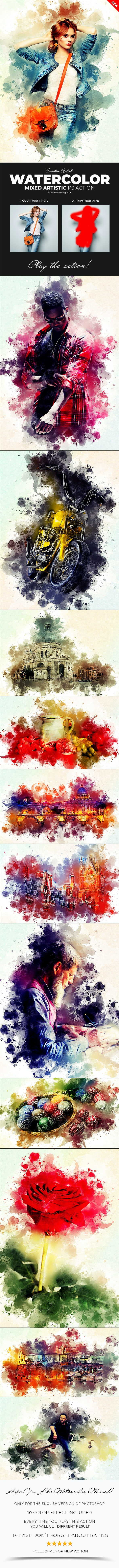 Watercolor Mixed Artistic Photoshop Action - Photo Effects Actions