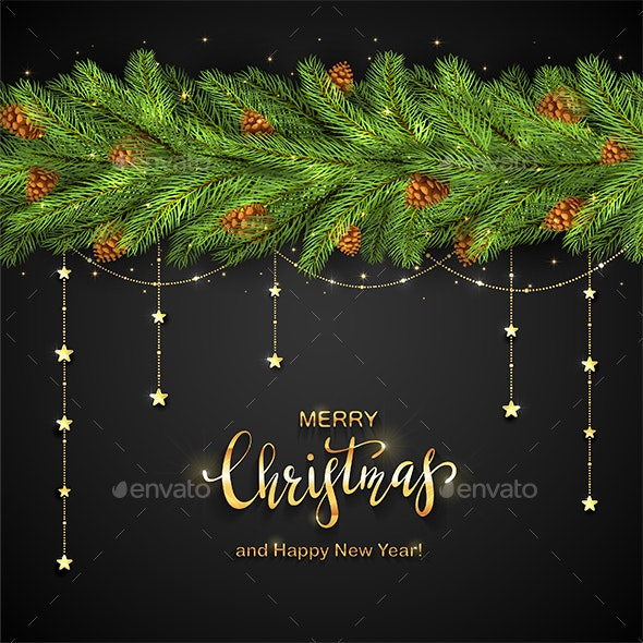 Black Background with Christmas Tree Branches and Golden Stars - Christmas Seasons/Holidays