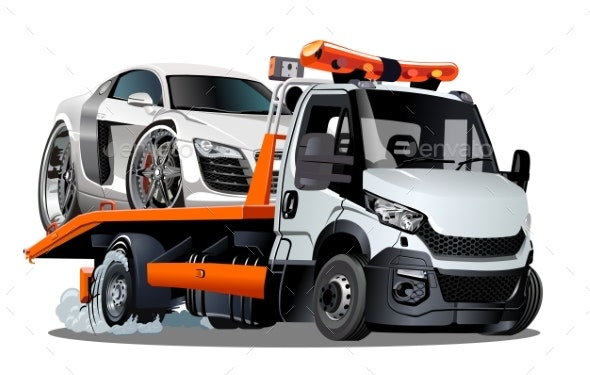 Cartoon Tow Truck Isolated on White Background - Man-made Objects Objects