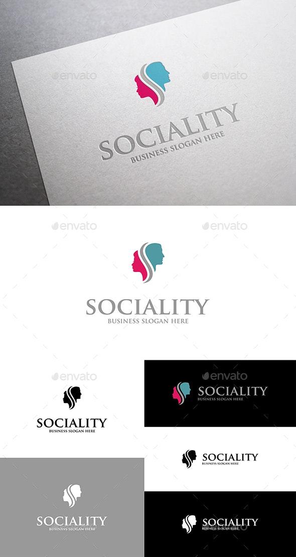 Sociality Man and Woman Head Logo - Humans Logo Templates