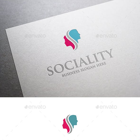 Sociality Man and Woman Head Logo