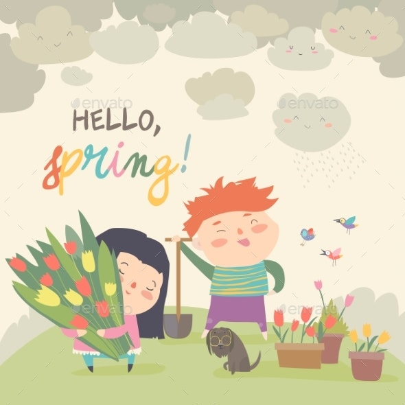 Cartoon Boy and Girl with Spring Flowers - People Characters