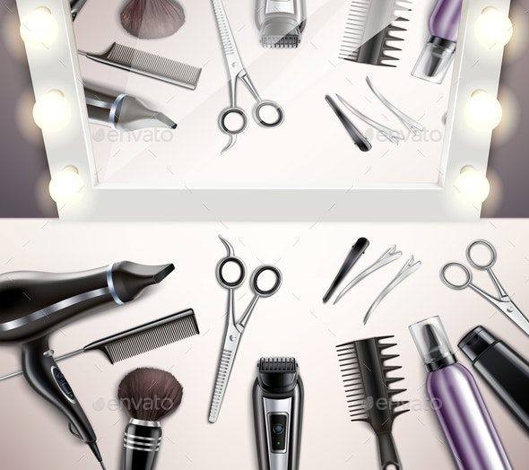 Hairdress Tools Top View - Backgrounds Decorative