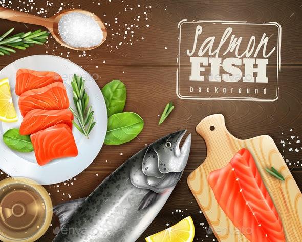 Realistic Salmon Background - Backgrounds Decorative