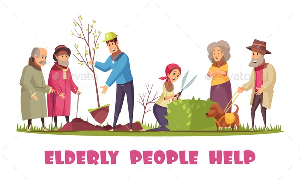 Elderly People Help Banner - Health/Medicine Conceptual