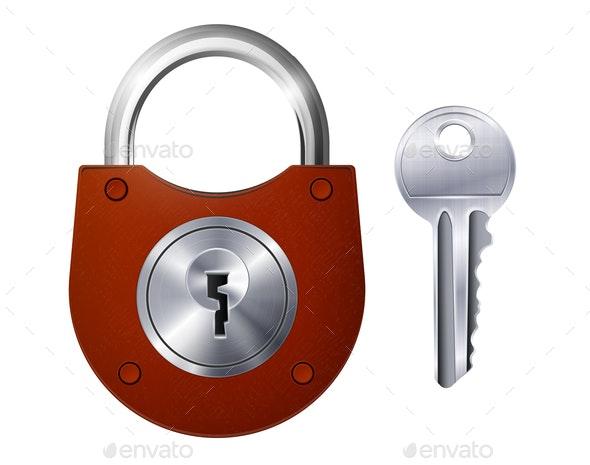 New Red Padlock and Metallic Key - Miscellaneous Vectors