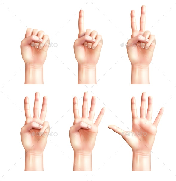 Six Gestures of People Hands - Miscellaneous Vectors