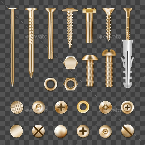 Realistic Golden Fasteners Transparent Set - Man-made Objects Objects
