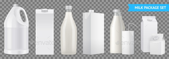 Realistic Milk Package Transparent Icon Set - Food Objects