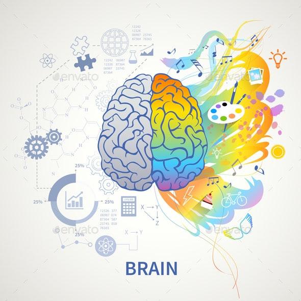 Left Right Brain Concept - Miscellaneous Vectors