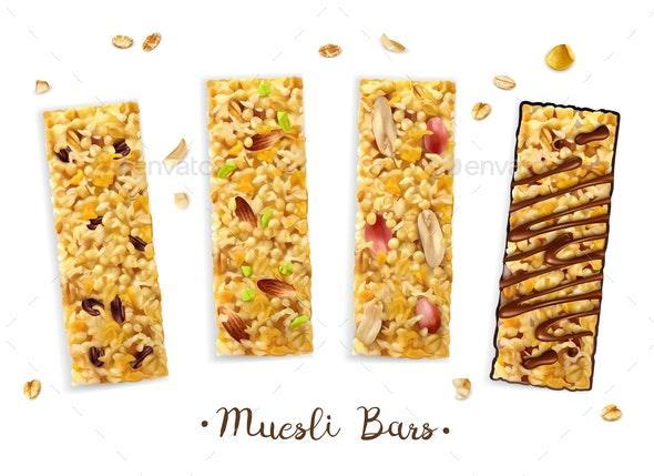 Sweet Muesli Bars Composition - Food Objects