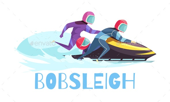 Bobsleigh Sports Illustration - Sports/Activity Conceptual