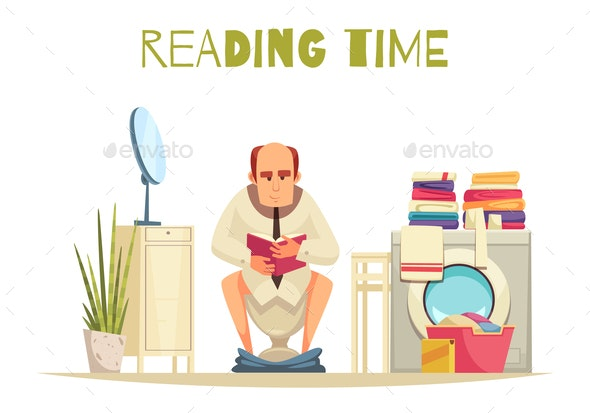 Reading Time Background - People Characters