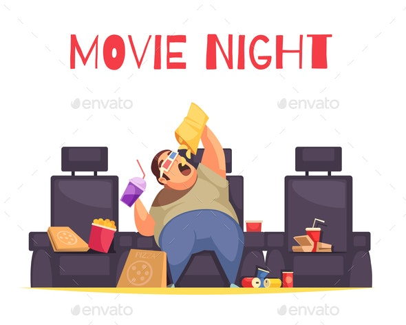 Movie Night Concept - Food Objects