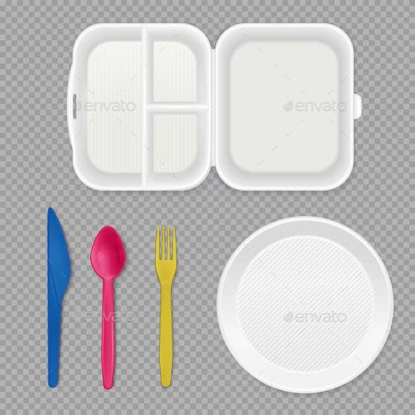 Disposable Tableware Transparent Set - Food Objects
