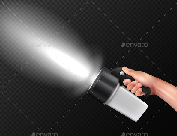 Flashlight In Hand Realistic - Backgrounds Decorative