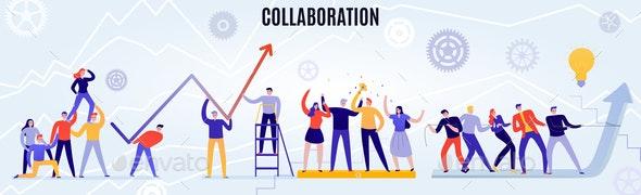 Teamwork Horizontal Illustration - People Characters