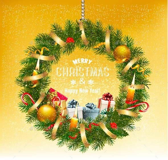 Holiday Background with a Colorful Gift Boxes and Christmas Wreath - Christmas Seasons/Holidays