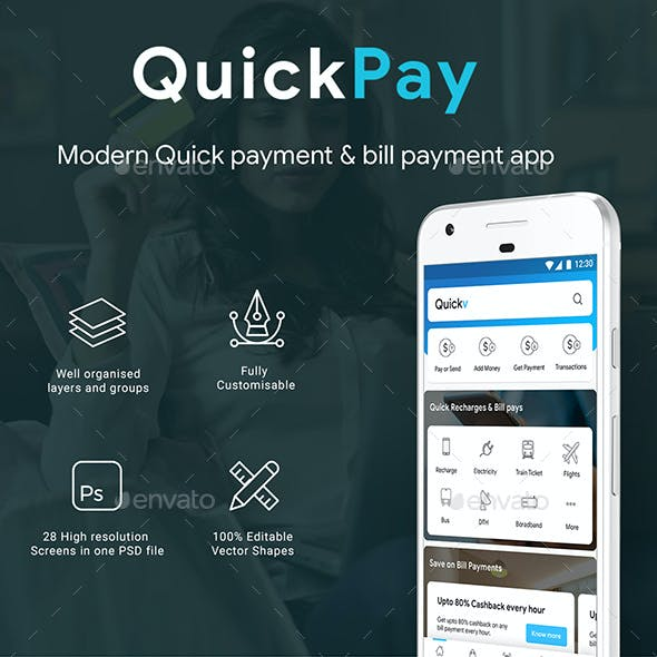Online Payment, Recharge, Booking & Bill Payment App UI | QuickPay