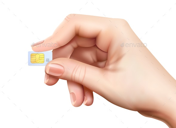 Realistic Sim Card Hand Composition - Computers Technology