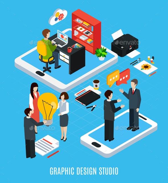 Graphic Design Studio Concept - Computers Technology