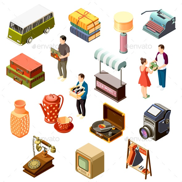 Flea Market Isometric Icons Set - Miscellaneous Vectors