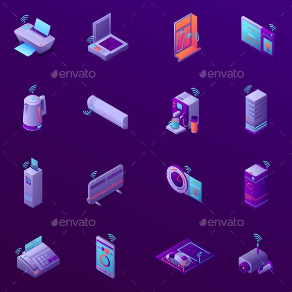 Iot Business Office Isometric Icons - Business Conceptual