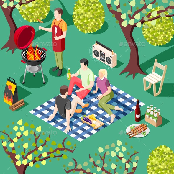 Outdoor BBQ Isometric Background - Food Objects