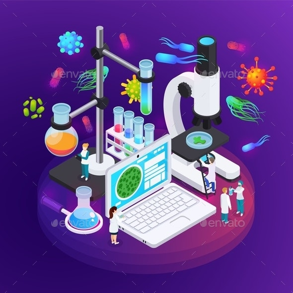 Microbiology Isometric Poster - Miscellaneous Vectors