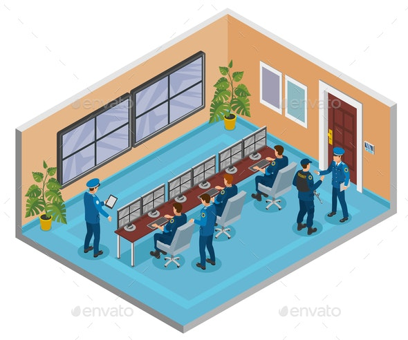 Security Systems Isometric Composition - Business Conceptual