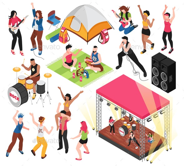 Open Air Music Festival Set - Miscellaneous Vectors