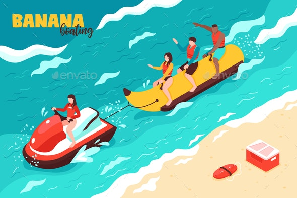 Banana Boating Vector Illustration - Sports/Activity Conceptual