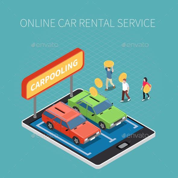 Car Rental Isometric Concept