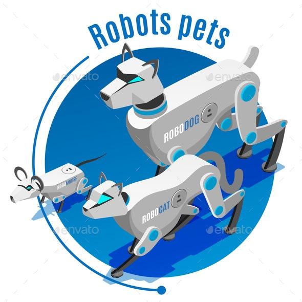 Animals Robots Isometric Background - Animals Characters