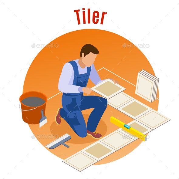 Craftsman isometric background - People Characters