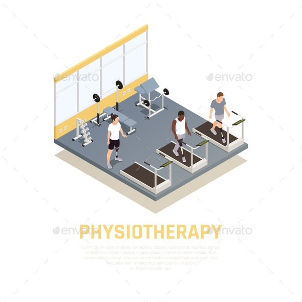 Disabled Rehabilitation Isometric Composition - People Characters