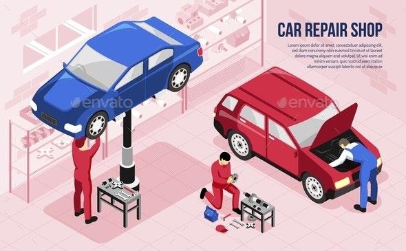 Car Repair Isometric Horizontal Illustration - People Characters
