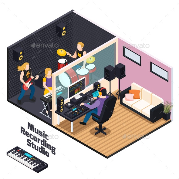 Music Recording Studio Isometric Composition - People Characters