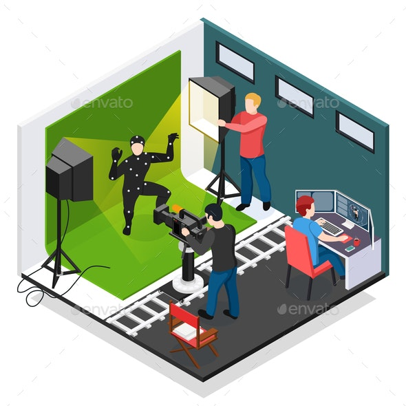 Cinema Motion Capture Isometric Composition - People Characters