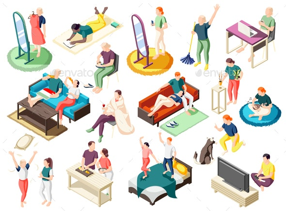 Weekend At Home Isometric Icons - Animals Characters